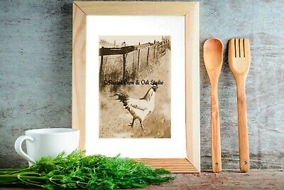 Rustic Fresh Eggs Kitchen Cafe Bistro Country Farmhouse Art Matted Picture A295