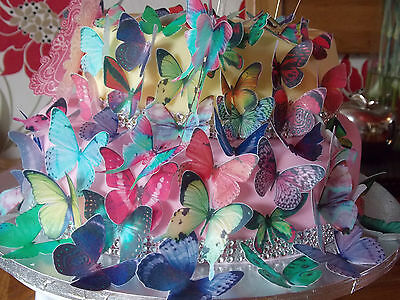 100 PRECUT Edible Mixed Butterfly wafer/rice paper cake/cupcake toppers