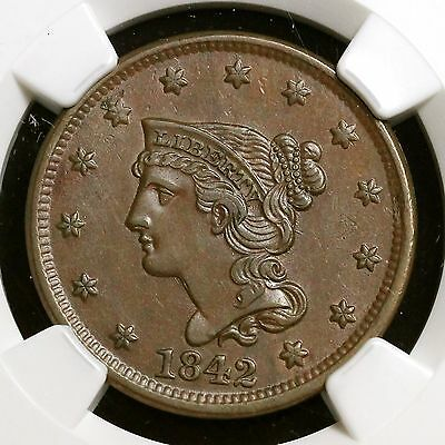 1842 N-9 R-2 NGC AU 55 BN Braided Hair Large Cent Coin 1c