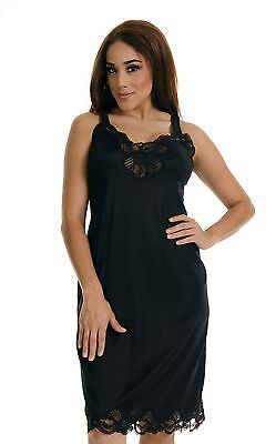 Women Illusion Full Slip Lace Adjustable Strap NonCling Size 34-50 Sexy Vintage