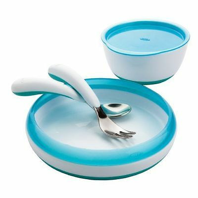 OXO TOT Feeding Set 4 Pic - Fork, Spoon, Plate, Large Bowl for Baby Toddler