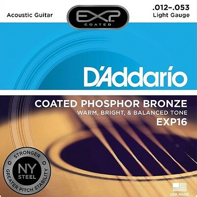 D'Addario EXP16 Coated Phosphor Bronze Light Warm Acoustic Guitar Strings 12-53