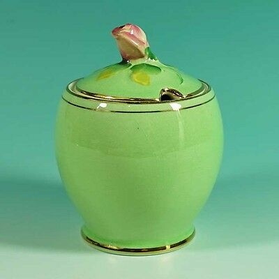 Beautiful Vintage Royal Winton Green Rosebud Lidded Sugar Bowl Preserve Pot