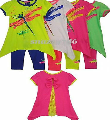 Kids Girls Fashion T.Shirt Tunic Butterfly Flared Print Top & Leggings Set 2-10Y