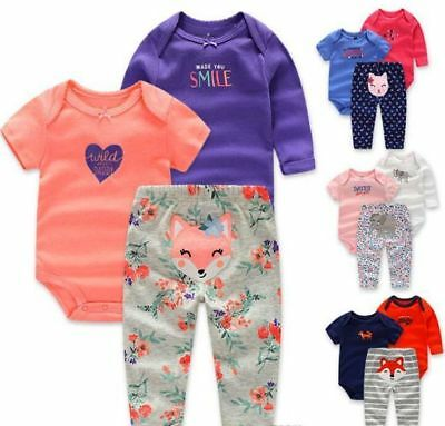 Baby 3 Pce Romper Set Long+Short Sleeve Bodysuit+Pants Outfit Sets,6,12,18,24mth