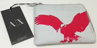 New Armani Exchange A|X Mens Embossed Eagle Card Case Holder
