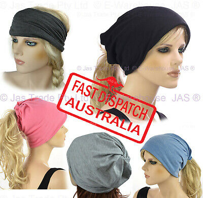 MultiTaski Ladies Men Headband Slouch Jersey Baggy Hat Beanie COTTON Neck Warmer