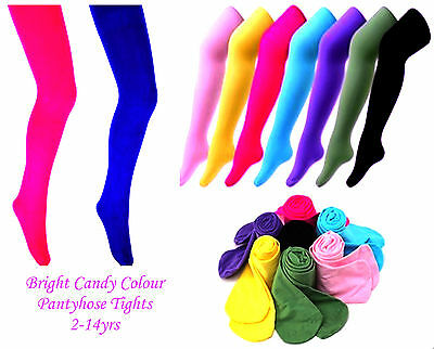 Kids Girls Bright Candy Colours Polyester/elastane Long Pantyhose Tights,2-14Yrs