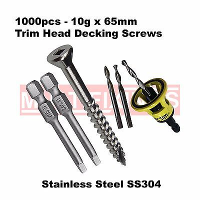 1000pcs - 10g x 65mm Stainless 304 Trim Head Decking Screws + Clever Tool