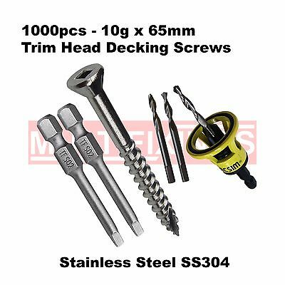 1000pcs - 10g x 65mm Stainless Steel SS304 Trim Head Decking Screws, Clever Tool