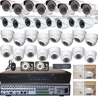 32 Ch Channel Home Office Security Surveillance System Full D1 DVR 32 HD Cameras