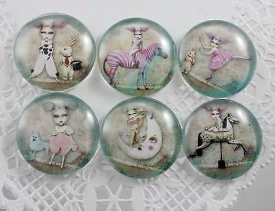 6pcs Glass Whimsical Girl and Animal Round Cameo Cabochon 25mm - Group A