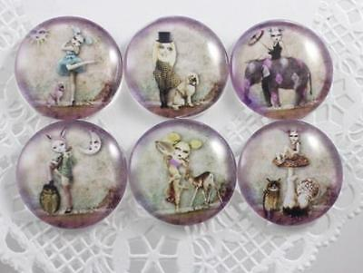 6pcs Glass Whimsical Girl and Animal Round Cameo Cabochon 25mm - Group B