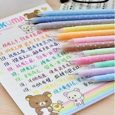 12 PCS Cute & Lovely Shining Candy Color Ballpoint Pen Stationery Kid Gift 0.5mm