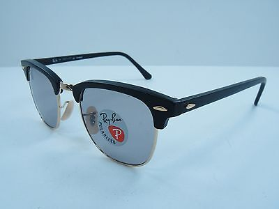 RAY-BAN CLUBMASTER POLARIZED SUNGLASSES RB3016 901SP2 BLACK/GREY LENS 49MM, NEW!