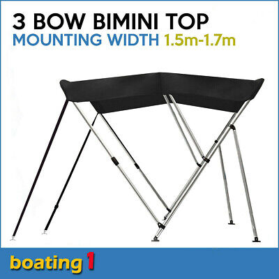 3 Bow 1.5m-1.7m Black Boat Bimini Top Canopy Cover With Rear Poles & Sock