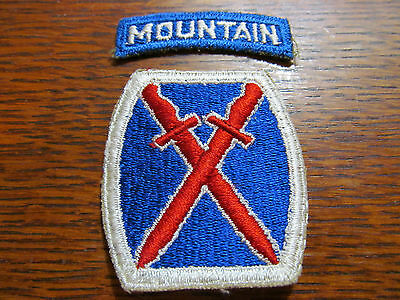 ORIGINAL CUT-EDGE WW2 10th MOUNTAIN DIVISION PATCH + TAB