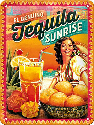 A5 Retro Embossed Tin Metal Sign TEQUILA SUNRISE Cocktail Vintage look 15 x 20cm