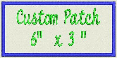 "Name tag, Custom Embroidered Ribbon, Biker Patch Rectangle  6"" x 3"""