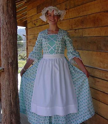 WeHaveCostumes Handmade Historical Costume Colonial~Turquoise Day Dress~ 10/12