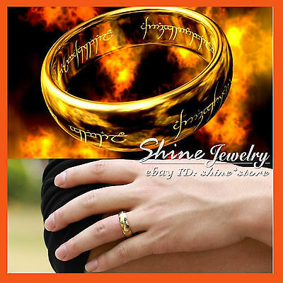 18K GOLD PLATED LORD OF THE RINGS HOBBIT Stainless Steel Mens Band RING PENDANT