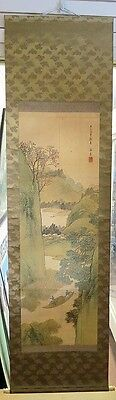 Japanese Hanging Scroll Hand Painted On Silk Finely Detailed Meiji Period