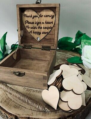 Personalised Wooden Wedding Guest Book Box 30 Wood Hearts 12cm Mr & Mrs Love