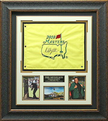 Phil Mickelson Masters Champion Signed Flag Framed