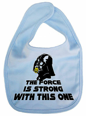 """IiE """"The Force is Strong"""" Darth Vader Star Wars Funny Baby Boy Girl Bib Gift"""