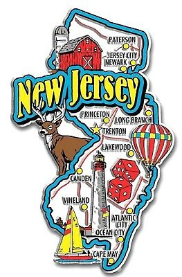New Jersey Jumbo State Map Fridge Magnet