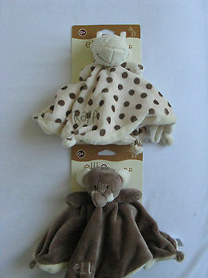 Elli And Raff Baby  Soft Toy Comfort Blanket  With Rattle