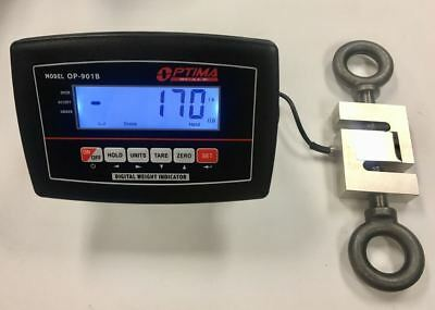 10,000 lb x 1lb CRANE SCALE - CALIBRATED - LOAD CELL - LCD INDICATOR - TENSION