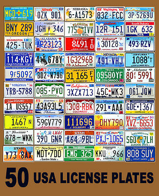 50 Assorted Usa License Plates - Color United States Tag Lot Set Art Decor