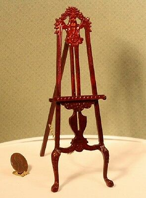 Dollhouse Miniature Artisan Hand Carved Mahogany Stained Wood Easel