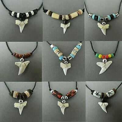 Real Shark Tooth Necklace Mens Boys Festival Skater Surfer Pendant Sharks Teeth