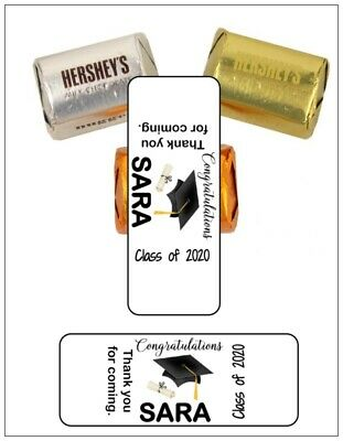 30 Graduation Cap Diploma Personalized Nugget Labels Favors Stickers 6 colors
