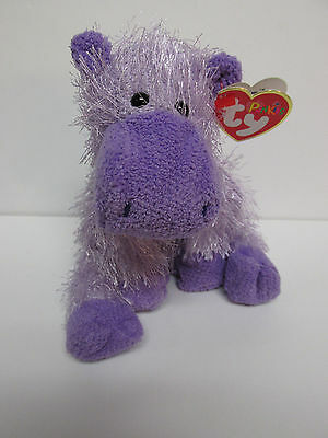 "TY Punkies ""Slim"" the PURPLE Hippo Plush stuffed Toy- MINT Brand New"