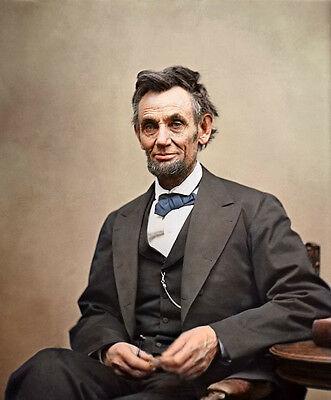 Nice Oil painting male portrait America President Lincoln seated canvas