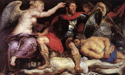 """Huge Oil painting Peter Paul Rubens - The Triumph of Victory with strong men 36"""""""