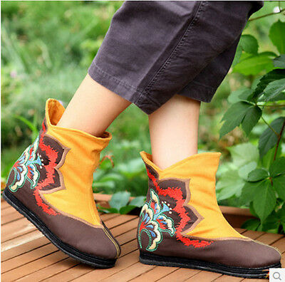 beijing style embroidered cotton linen Chinese multi-color flat boots shoes X613