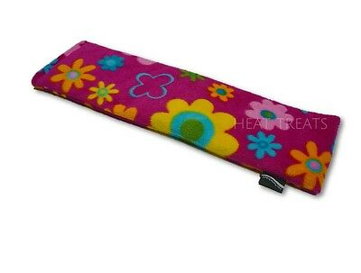 Deluxe Fleece PINK DAISY Print Lavender Wheat Bag Heat / Chill Pack Large 44cm