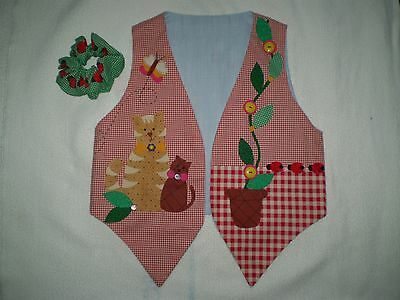 NEW - Homemade Child's Vest - Size 4 ? - Cat, Dog, Flower, Kitty, Puppy