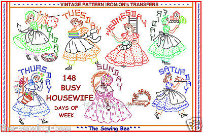Crinoline Busy Housewife embroidery transfer pattern tea towels IRON-ON 148