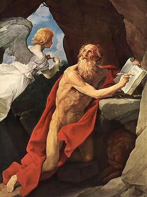 Oil painting Salome Guido Reni - St Jerome - naked elder with angel only canvas