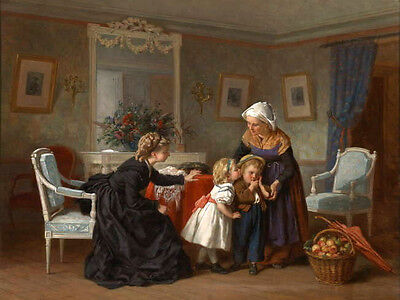 Charming Oil painting portraits young mother with children and A basket of fruit
