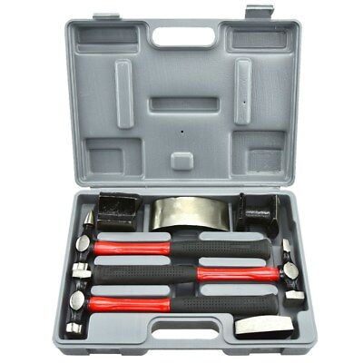 Auto Body Set | 7 pc Heavy Duty Dent Fender Repair Hammer Dolly Professional Kit
