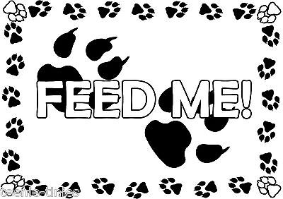 2X Large A3 Feed Me Pet Cat Dog Feeding Food Mat - Laminated - Wipe Clean • EUR 7,44