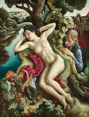 Huge Oil painting portraits naked Susanna sleeping & old man in landscape canvas