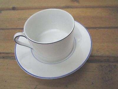 Fitz and Floyd GOURMET PORCELAIN Cup and Saucer Set BLUE TRIM ON WHITE