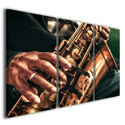 Quadri moderni canvas MIX SAX stampe su tela arredamento bar pub jazz 130 x 90
